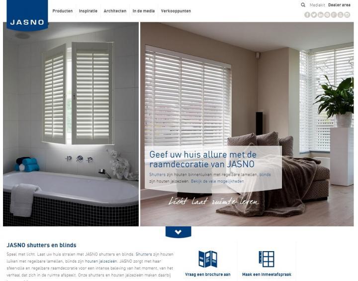 Nieuwe website JASNO shutters en houten jaloezieën
